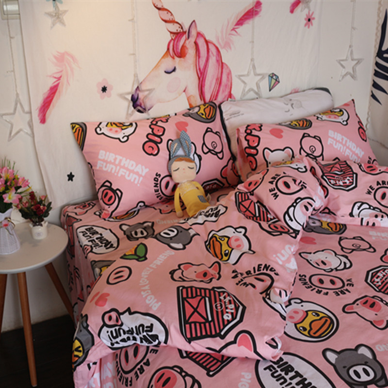 Pink pig quilt cover sheet pillow case Princess wind one piece quilt cover new pig pattern student dormitory bedding