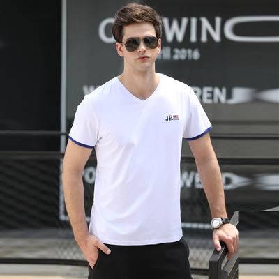 男装夏季大码宽松时尚休闲透气V领薄款短袖T恤90311#P38