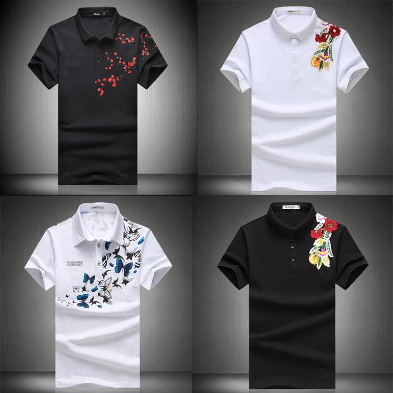 男士翻领半袖中国风潮刺绣玫瑰花T恤夏季桃花小衫大码短袖POLO衫