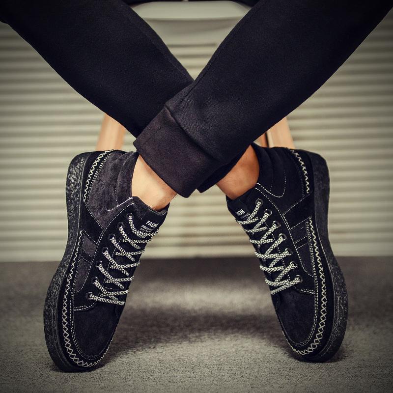 2019 winter mens shoes high top shoes Plush warm cotton shoes board shoes mens Lace Up Korean leisure sports shoes