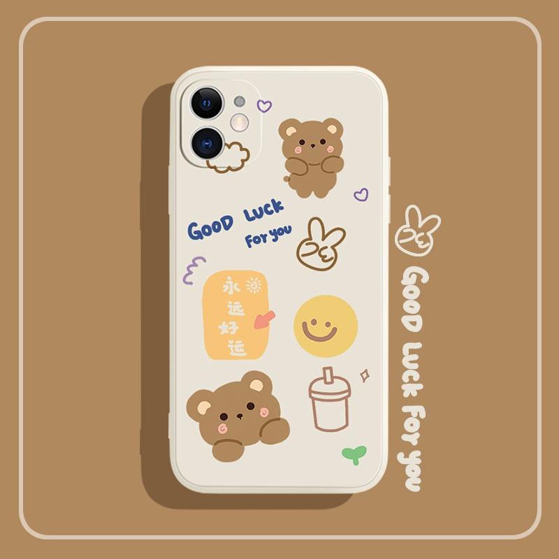 iphone12苹果手机壳6plus硅胶8x全包软壳5情侣xr卡通小熊11/11pro
