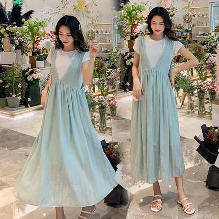 孕妇连衣裙中长款2019新款孕妇装夏装两件套夏天裙子时尚夏季长裙