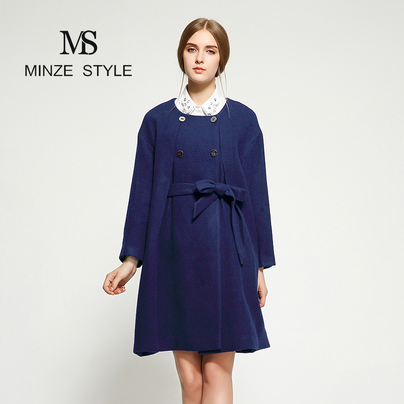MS New Navy womens coat bow tie strap exquisite metal buckle commuting elegant comfortable woolen coat