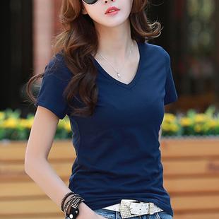 半袖 蓝色韩版 丅恤女夏装 纯色打底上衣收腰短款 纯棉v领短袖 体恤衫