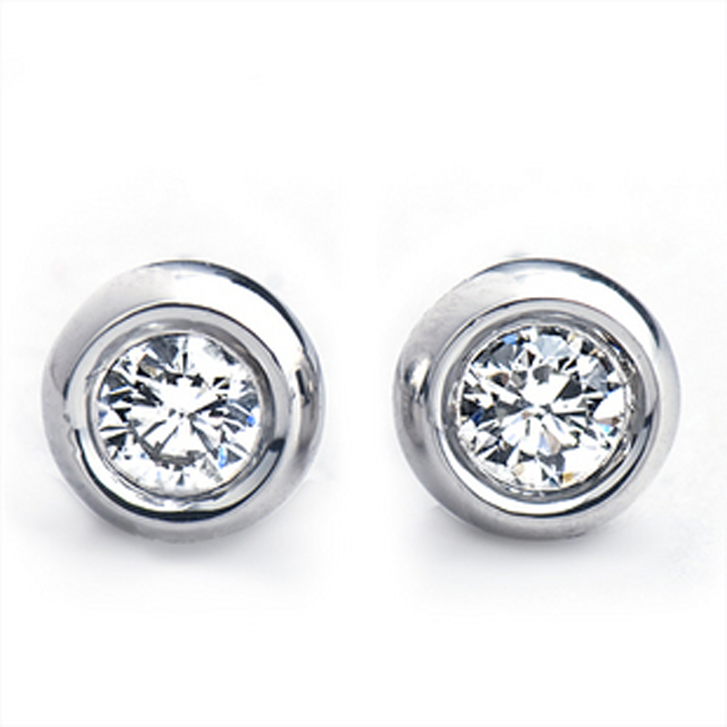 18K white gold gold color real diamond bag inlaid with bubble stud Earbone nose stud mens and womens Earrings customized platinum