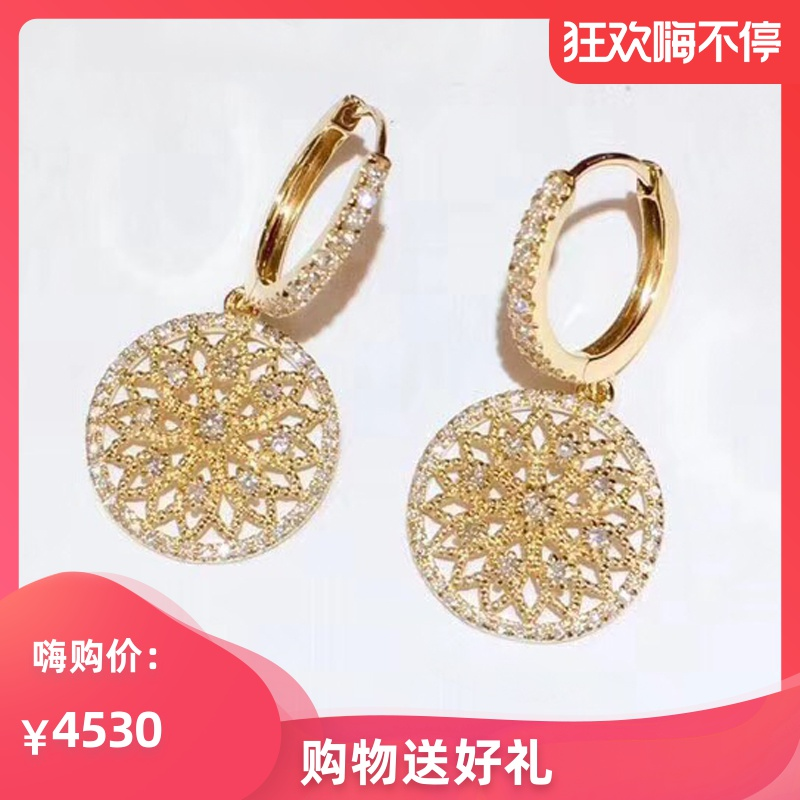 Tangqiu jewelry 18k rose gold color gold womens dream catcher earrings and Earrings customized pt950 platinum earrings