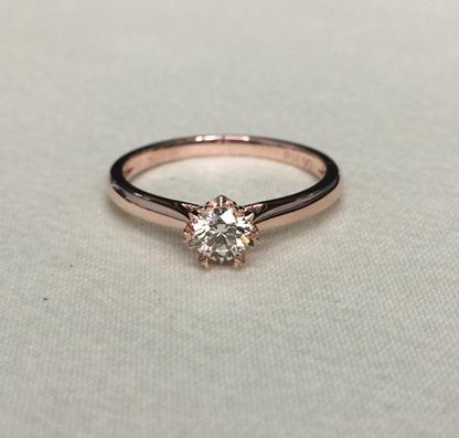 18K白金玫瑰金镶嵌真钻石女戒雪花款显大婚戒女款手饰可定制铂金