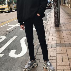小明欧巴 新款黑色牛仔裤男修身九分裤男个性小脚裤9分日系男女款