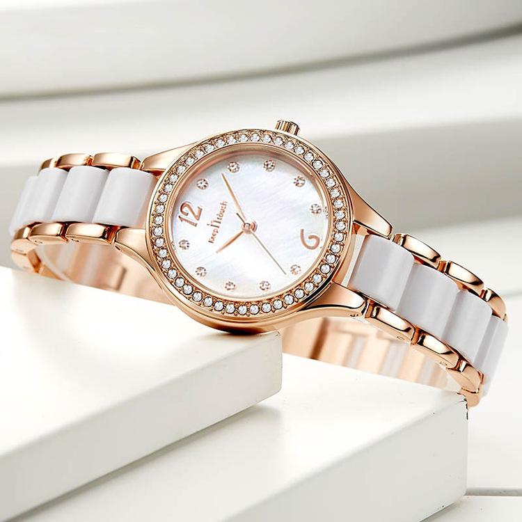 2021新款陶瓷女士手表指针式石英表简约防水镶钻时尚气质手表女潮
