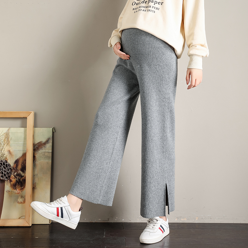 Knitted wide leg pants for pregnant women in autumn and winter with sagging abdomen and thin drop feeling