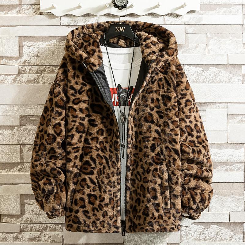 豹纹长袖夹克秋冬装港风潮牌宽松嘻哈上衣情侣装毛绒连帽棉衣外套图片