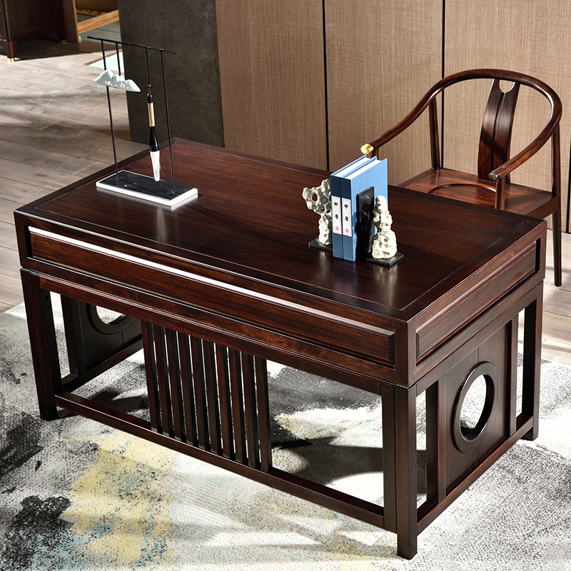 New Chinese style ebony desk bookcase combination solid wood office computer desk study Zen writing painting desk furniture