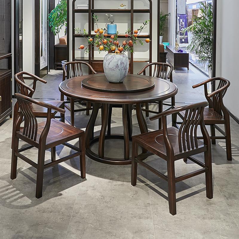 新中国式の禅意円テーブル、テーブル、テーブル、椅子、家庭用テーブル、現代の木製テーブルの組み合わせは6人です。