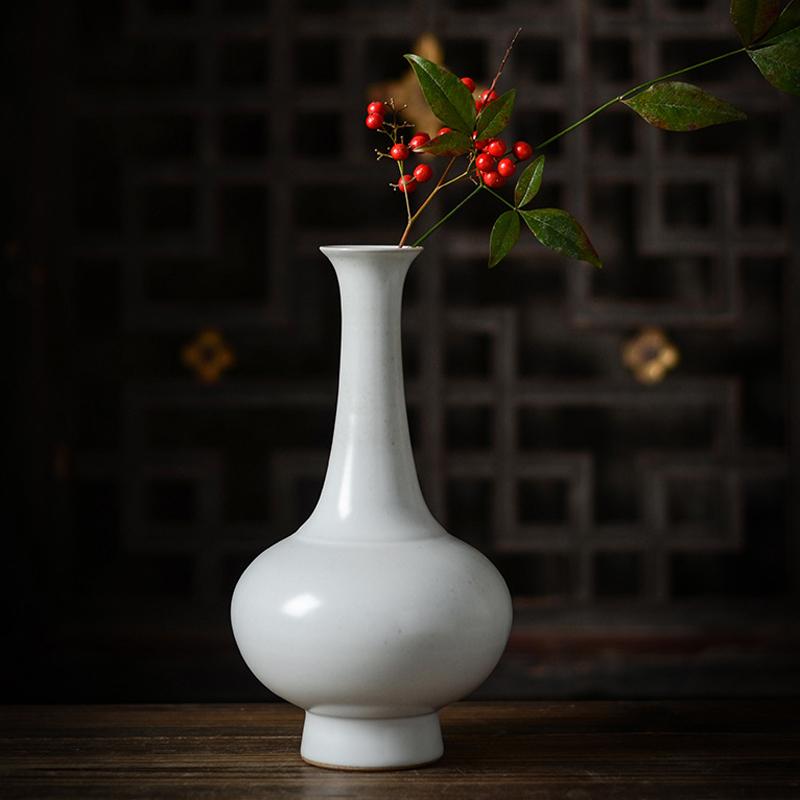 景徳鎮陶磁器花器創意汝窯花瓶のテーブルに禅の意味を持って家にいる装飾品を飾って、花を生けます。