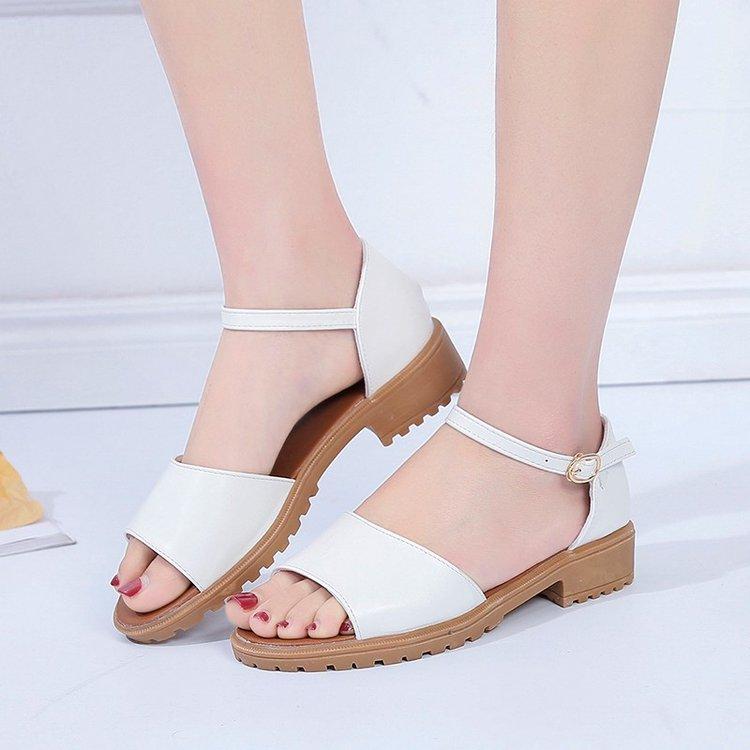 【雨雪飘飘】新款夏季罗马粗跟平底凉鞋女学生露趾中跟鱼嘴韩版潮