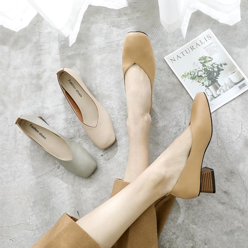 软皮粗跟中跟奶奶鞋女单鞋2020春新款方头简约复古时尚显瘦豆豆鞋图片