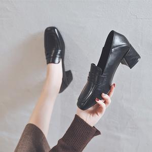 粗跟中跟单鞋女小皮鞋乐福鞋2021春季新款英伦时尚两穿柔