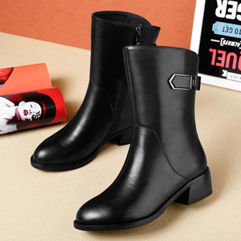 雪地意尔康新款真皮短靴女中跟秋冬平底女靴粗跟侧拉链黑色中筒靴