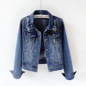 2021春秋季新款韩版修身破洞长袖牛仔外套女短款百搭学生上衣大码