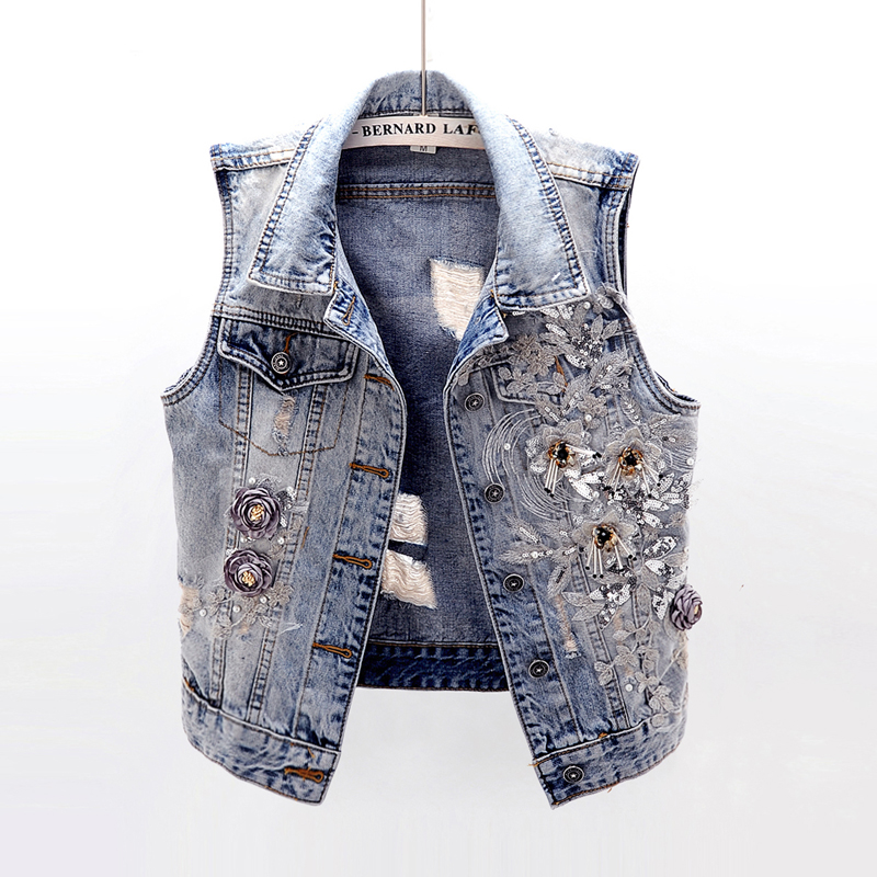 春秋季韩版重工刺绣花朵修身破洞牛仔马甲女短款无袖背心坎肩上衣