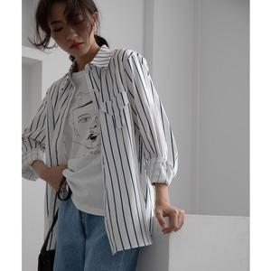 实拍2020春季大码宽松中长款上衣条纹衬衫衬衣韩版女chic