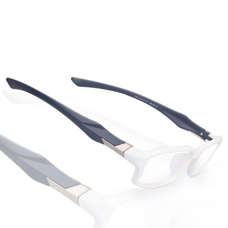 Korean TR90 myopia frame ultra light full frame glasses frame white frame sports leisure presbyopia flat color contrast