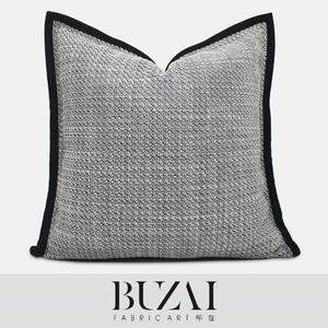布在布艺客厅沙发抱枕灰色棉麻大号靠枕车用靠垫现代简约方形枕套