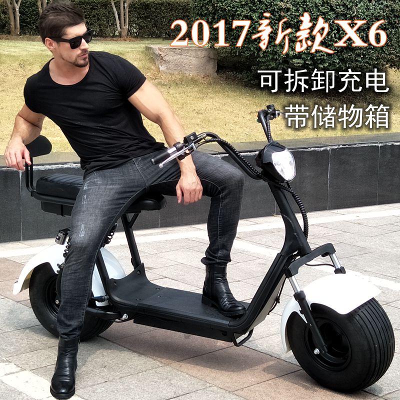 满1399.00元可用1元优惠券2019新款城市哈雷电瓶车踏板车滑板车电动自行车大轮胎宽胎代步车