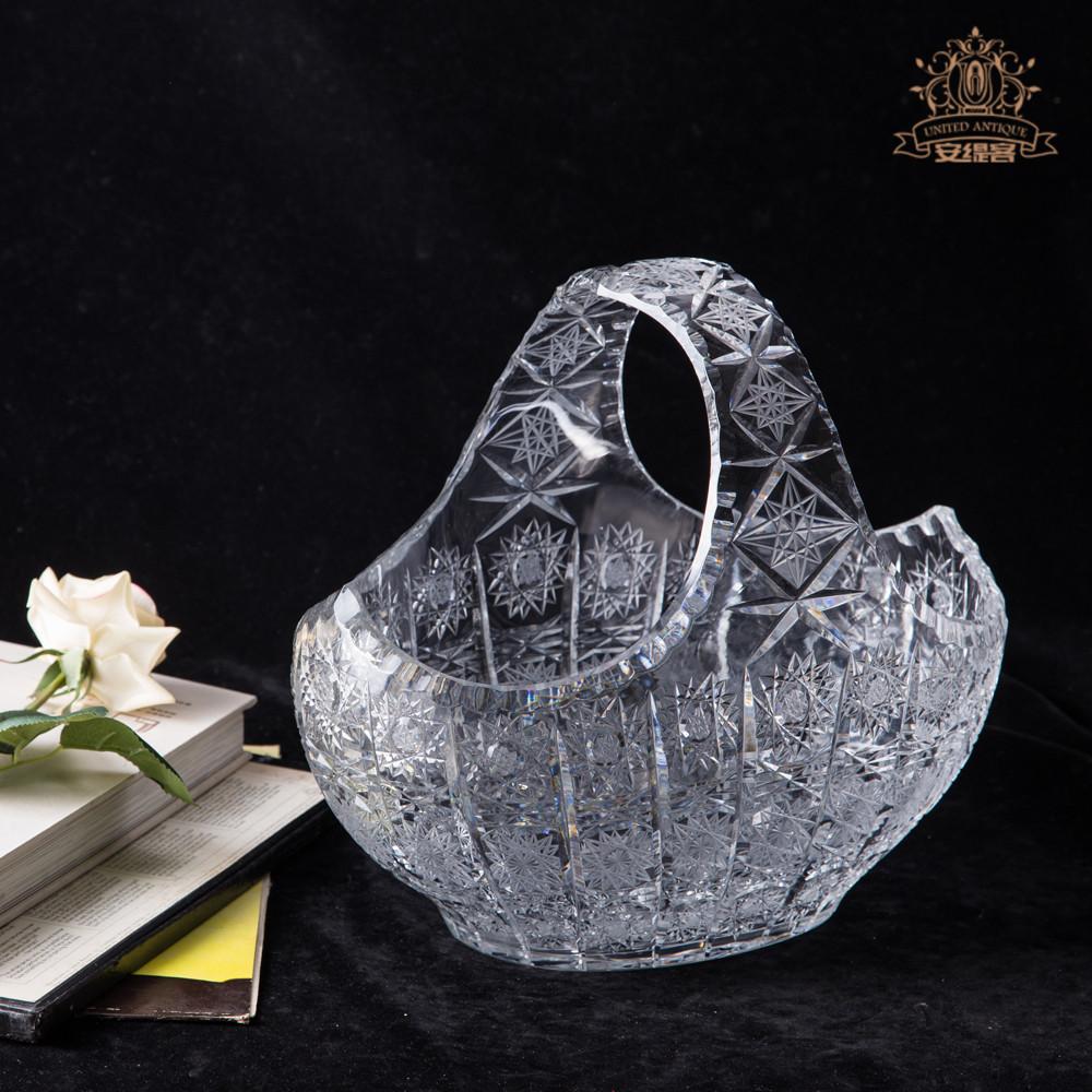 水果籃水晶花籃手工切割透明玻璃創意歐式奢華個性客廳家居擺件