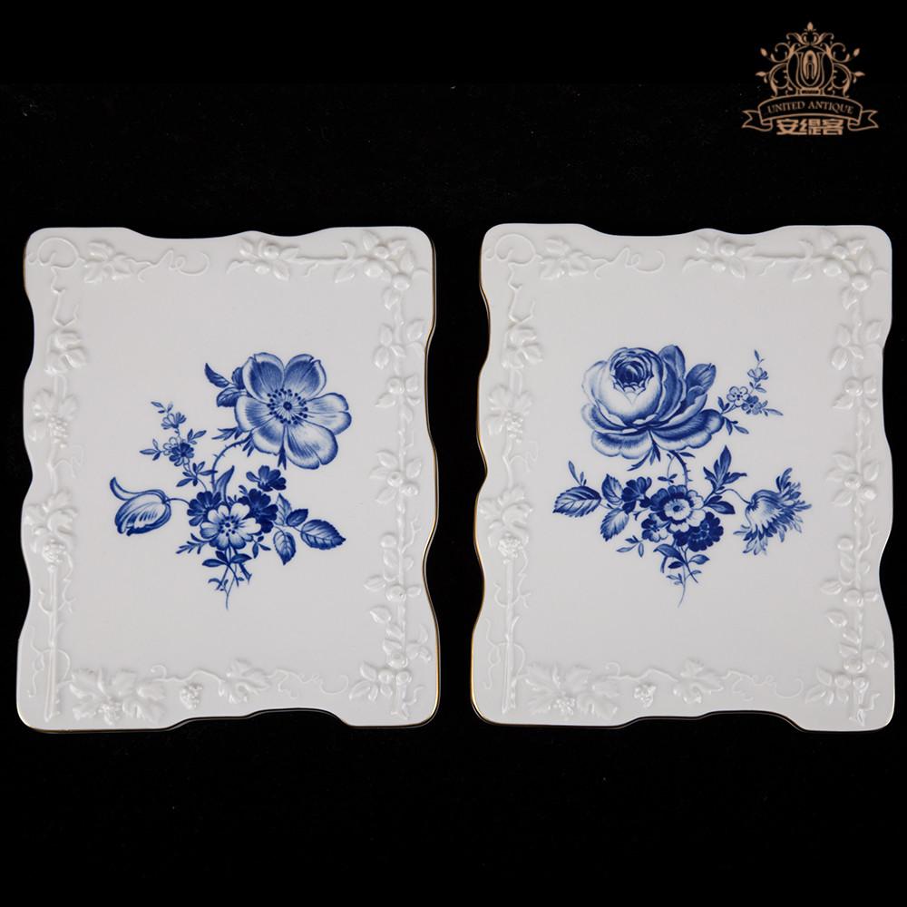 盘子装饰墙挂盘方形盘家居摆设欧式梅森meissen青花花卉创意挂盘