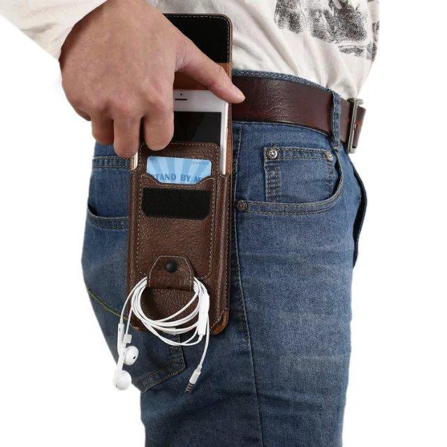 4.7/5.2/5.5/6.0寸竖款手机腰包穿皮带腰挂皮套男士袋手机包潮男