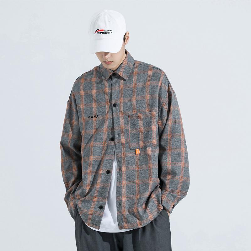 GRINCH1928-GAHA 日系复古橘灰格纹衬衫男士休闲长袖格子衬衣外套图片