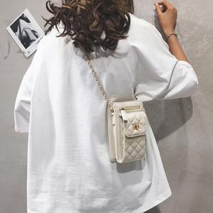 上新小包包女2021新款潮时尚百搭单肩包洋气菱格链条斜挎手机包女