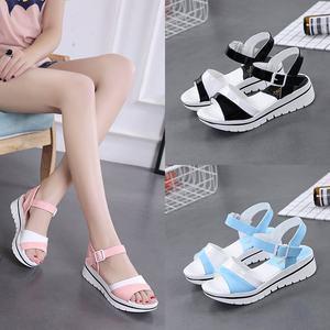 2020夏季新品拼色厚底女凉鞋中跟坡跟休闲时尚百搭学生凉鞋女防滑