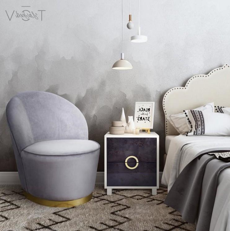 北欧现代客厅单人沙发简约布艺轻奢懒人椅美容院样板房休闲接待椅