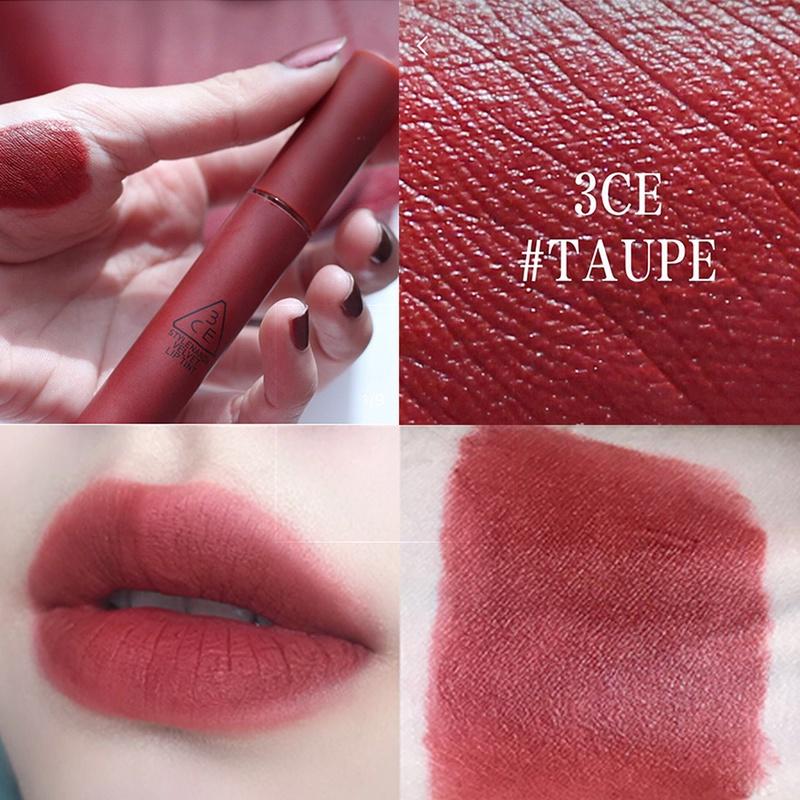 3ce唇釉正品口红保湿哑光不脱色防水新款雾面丝绒南瓜梅子色taupe