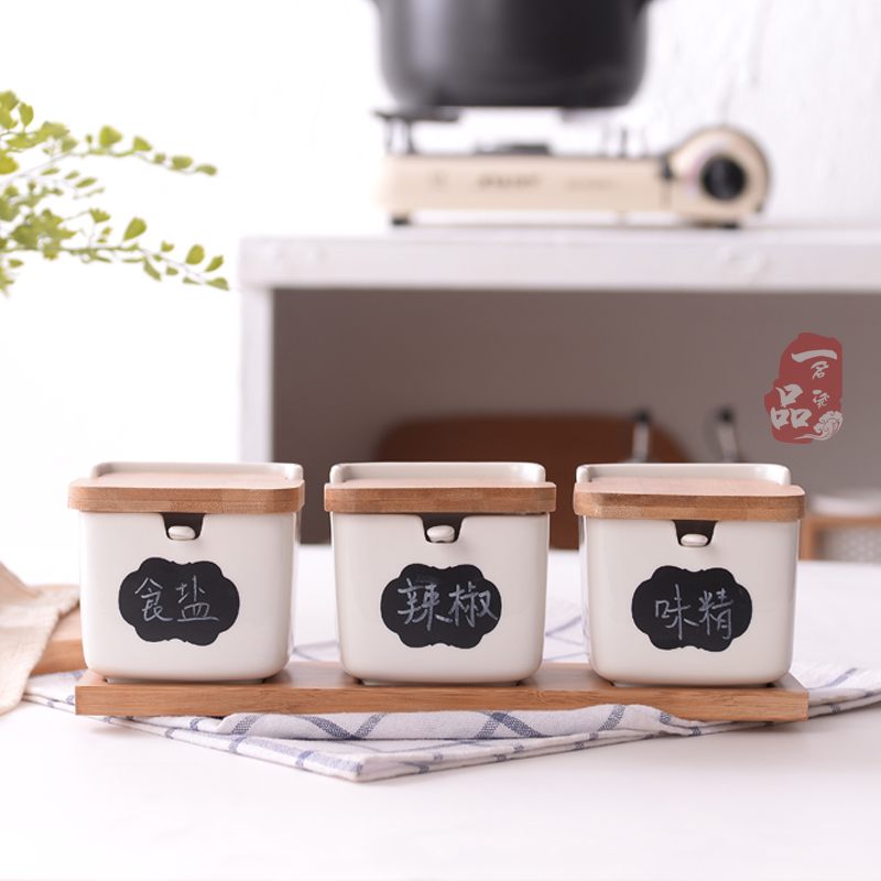 35.00元包邮陶瓷调料盒酒店餐厅翻盖调味罐套装创意家居厨房用品味精盐辣椒罐