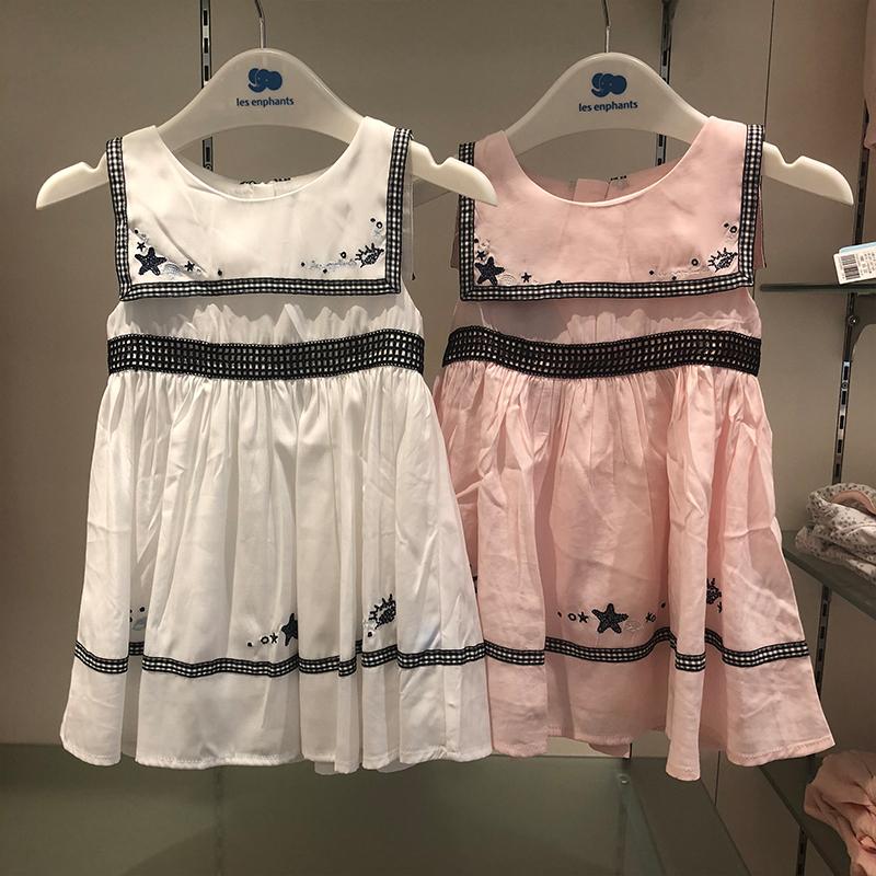 丽婴房专柜2018夏新款女童时尚凉薄无袖方领针织连衣裙01B2010422