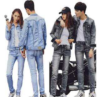 秋季新款情侶牛仔套裝男潮流韓版修身兩件套大碼上衣女外套學生