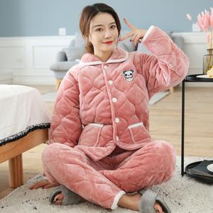 睡衣女冬加厚三层夹棉法兰绒加绒保暖大码可外穿可爱珊瑚绒家居服