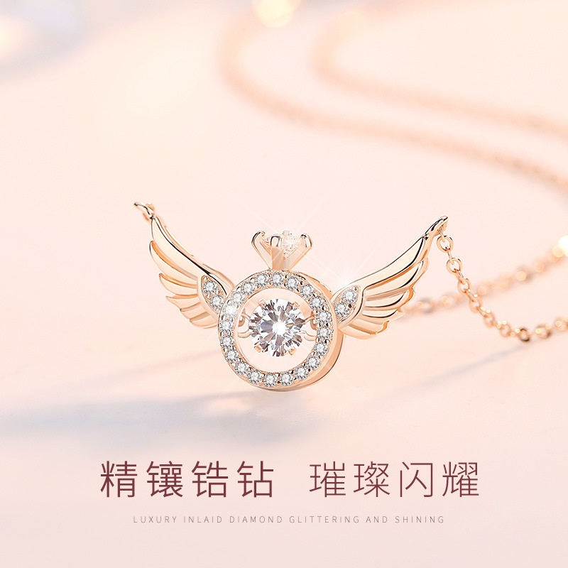 Light luxury platinum diamond Angel Wing Necklace womens smart pendant beating heart necklace rose gold chain