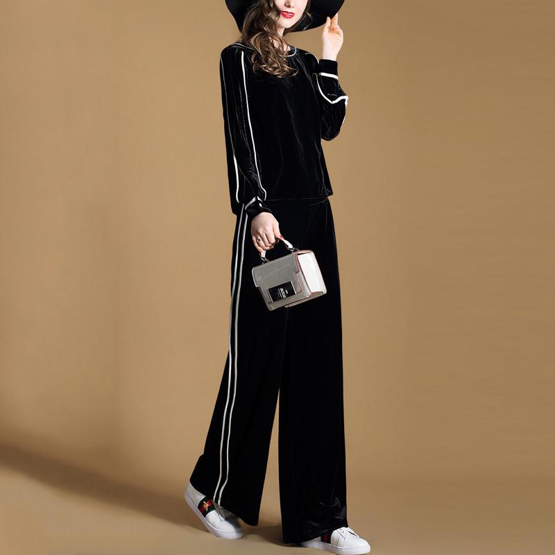 真丝绒套装2018新款春秋女装欧美时尚减龄休闲运动显瘦加厚两件套