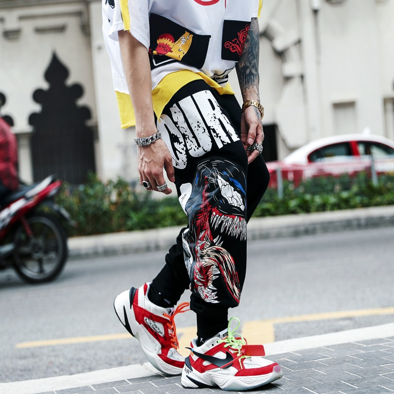 Summer venom manwei printing net red pants mens fashion hip-hop tie foot fashion brand loose large hip-hop hip-hop pants