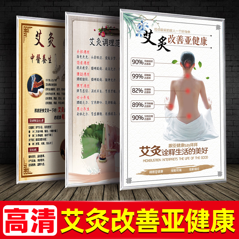Traditional Chinese medicine health wall chart moxibustion improve sub-health picture advertisement picture beauty salon poster decoration picture wall sticker