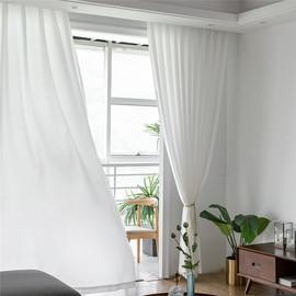 白纱窗帘纱帘透光不透人雪纺纱遮光阳台飘窗白沙纱幔沙帘白色窗纱