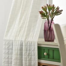 加厚透光不透人半遮光沙纱帘窗纱飘窗窗帘防晒隔热白色格子布面料