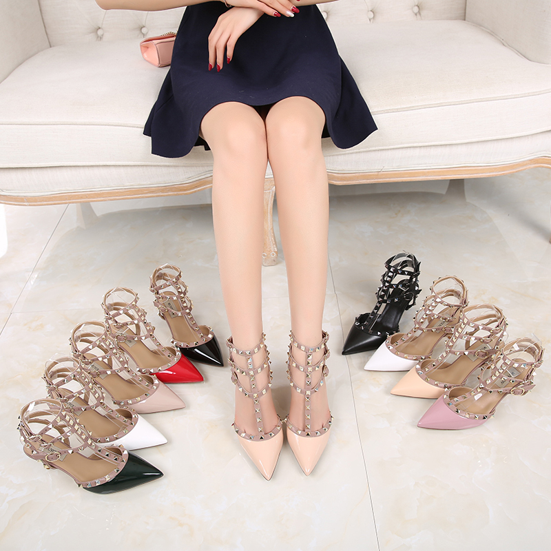 European and American rivet pointed high-heeled shoes Liuding stiletto sandals leather strap nude model show super high-heeled womens shoes
