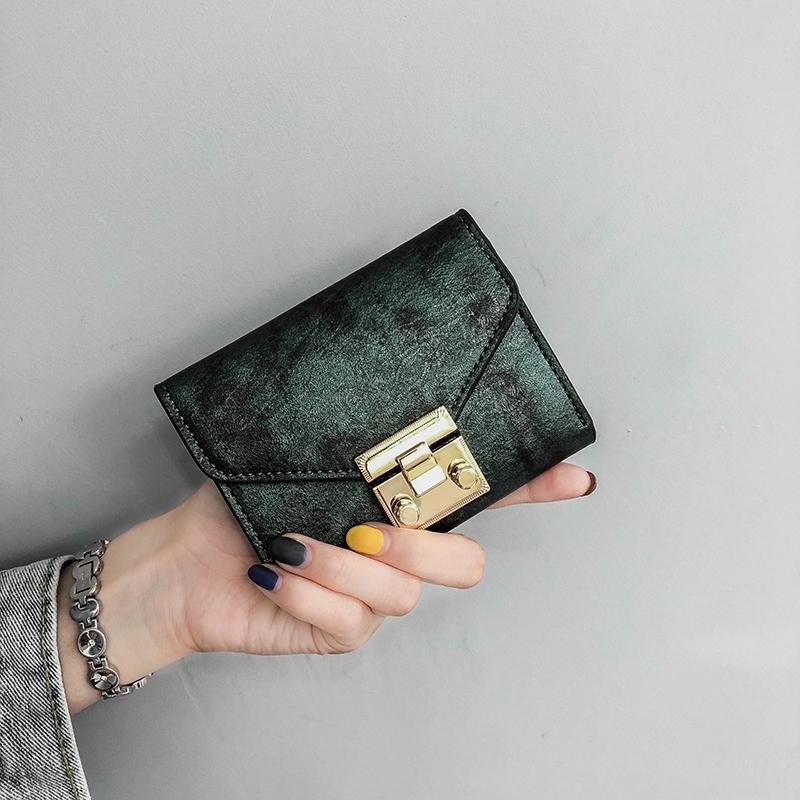 百搭钱夹女卡包零钱包新款韩版潮钱包女短款欧美复古锁扣2018ins
