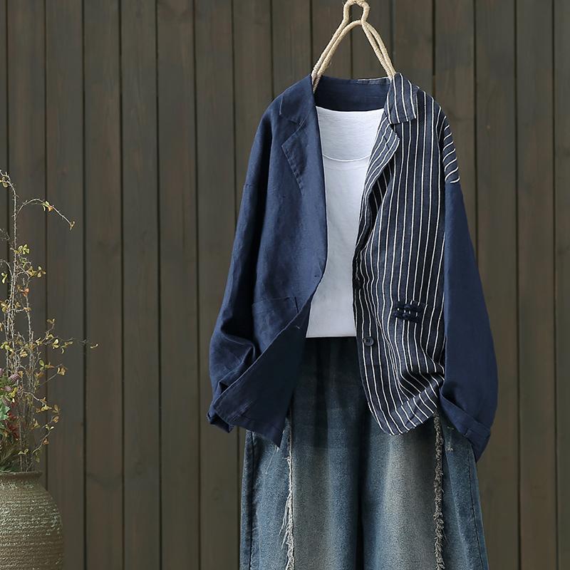 Xiaoer produces 2021 new spring linen suit, small suit, short coat, womens Retro disc button cotton linen coat