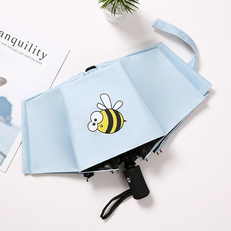 全自動傘折りたたみ小新鮮ハチアニメ紫外線対策簡単女晴雨兼用傘